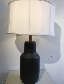 Mid Century Modern Black Lamp with White Shade