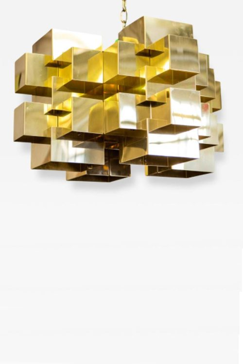 Mid Century Modern Curtis Jere Polished Brass Cubalist Chandelier Period 1950-1980 Dimensions W. 24 in; H. 12 in; D. 24 in; W. 60.96 cm; H. 30.48 cm; D. 60.96 cm; Condition Excellent, Polished Brass Creation Date 1975Signed and dated Styles 20th Century; Mid-Century Modern